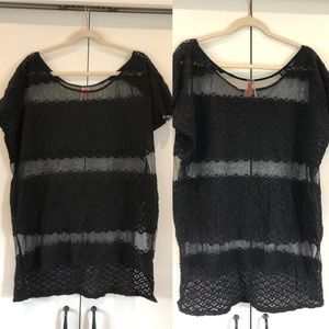 Free people sheer boho tiered lace tunic top